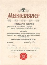 Friseur Meisterbrief Wolfgang Schmid