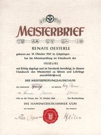 Friseur Meisterbrief Renate Oesterle